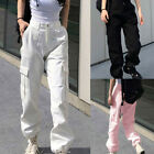 Women Spring Summer Cargo Pants Pocket Loose Streetwear Trouser Legging Overalls