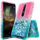 For Nokia 6.1 Case Liquid Glitter Bling Waterfall Flowing Glitter Phone Cover