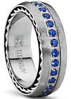 Brushed Titanium Wedding Band Ring With Stainless Cable Inlay and Blue CZ