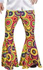 Mens Bright 1960s 1970s Disco Flares Pants Trousers Fancy Dress Costume Outfit