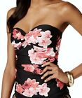 CALVIN KLEIN Orchid Twist Bandeau Black Pink Floral Tankini Top NEW Womens XS M
