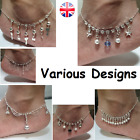 Womens Anklets Anklet Ankle Foot Chain Rhinestone Crystal Silver Jewellery Girls