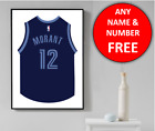Memphis Grizzlies Basketball Jersey Personalised Name Wall Art Print Poster Gift on eBay