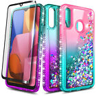 For Samsung Galaxy A10S / A20S Case, Liquid Glitter Phone Cover + Tempered Glass