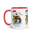 Jeepers Christmas WW2 Era Santa in Army Jeep Retro Beverage Mug (4 Colors)