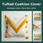 Handcrafted Tufted Cushion Cover Boho Tassel Natural Grey Decorative Pillow Case