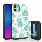 For iPhone 11,8,7,XS,XR Max Hidden Wallet Case Almond Blossom,Pink Blue Roses