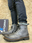 STORM - MENS LEATHER BOOTS - BROGUE CHELSEA BOOTS - GREY