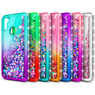 For Samsung Galaxy A11 Case Liquid Glitter Phone Cover +tempered Glass Protector