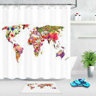 Colorful Tropical Flower Creative World Map Waterproof Fabric Shower Curtain Set