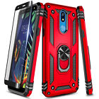 For LG Neon Plus (AT&T) Case Magnetic Ring Kickstand Cover + Tempered Glass