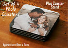Set of 4 Personalised Hardboard Photo Drink Coasters Custom Printed 9cm Square