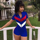 Ladies Zipper Mini Playsuit Jumpsuit Romper Summer Mini Bodycon Shorts Dress UK