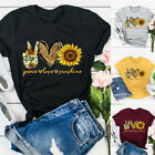 Women Blouse O Neck Short Sleeve Sunflower Letters Print Loose T-shirt Top New