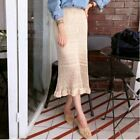 Woman Slim Fit Knitted Midi Long Banded Skirt Elastic Fashion 2 Colors Choose 1!