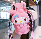 3D Cartoon Melody Coin Purse Silicone Wallet+Strap Case Cover For Various Phone