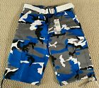 NWT Mens Regal Wear Blue Gray Camouflage Camo Belted Cargo Shorts ALL SIZES