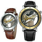 Forsining Mens Skeleton Automatic Mechanical Wrist Watch Genuine Leather Band