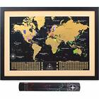 MyNewLands Gold Scratch Off World Map Wall Poster with US States and Flags, 17x2