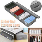 New Home Organizer Foldable Under Bed Storage Case Box Container Handle Gray Bag