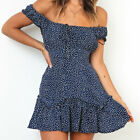 ?? Women's Sexy Polka Dot Off Shoulder Mini Dress Summer Beach Ruffle Sundress