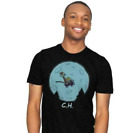 Flying Wagon ET Calvin And Hobbes Cartoon Funny Black T-shirt S-6XL