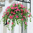 Hanging Plant Basket Artificial Fake Silk Morning Glory Flower Vine Home Decor