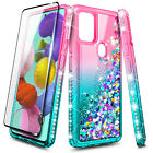 For Samsung Galaxy A21s Case Liquid Glitter Bling Cover + Glass Screen Protector