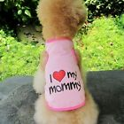 Cute Love Mommy Daddy Dog Shirt Summer Vest Costume Apparel TShirt for Pet Puppy