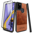 For Samsung Galaxy A21s Phone Case Shockproof Leather Cover + Tempered Glass