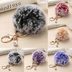 Cute Faux Rabbit Fur Fluffy Pom pom Key Chain Ball Bag Car Pendant Charm Keyring