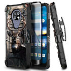 For Cricket Ovation Case, Holster Belt Clip Phone Cover + Glass Screen Protector