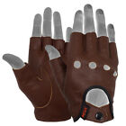MRX Mens Leather Fingerless Driving Motorcycle Biker Gloves Work Out Exercise