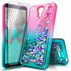 For Wiko Ride 2 Case Liquid Glitter Phone Cover + Tempered Glass Protector