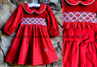 Smocked A Lot Girls Christmas Classic Dress Red Green Peter Pan Collar Outfit