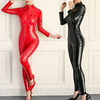 Women's Wet Look Shiny Two Way Zipper Catsuit Leather Bodysuit Jumpsuit Clubwear