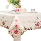 Rectangle Embroidered Holiday Tablecloth Wedding Party Banquet Event Decor White