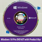 Microsoft Windows 10 Pro Professional 64bit DVD + Product License Key COA