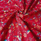 Reindeer & Gold Snowflake Multicoloured Modern Christmas Red 100% Cotton
