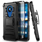 For AT&T Radiant Max Phone Case Holster Belt Clip Cover + Glass Screen Protector