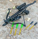 80lbs Self Cocking Pistol Crossbow Arrows Red Dot Scope Broad Head Arrows