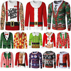Christmas Men Xmas Santa Funny Long Sleeve T-Shirt Pullover Jumper Ugly Tops