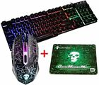 Rainbow LED Backlit Gaming Keyboard and Mouse Set For MAC Laptop PC PS4 Xbox one