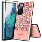 For Samsung Galaxy S20 FE 5G Case Hybrid Glitter Cover +Tempered Glass Protector
