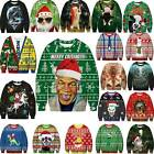 Unisex 3D Ugly Christmas Sweater Ugly Women Men Xmas Pullover Sweatshirt Tops