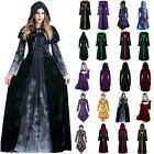 Women Medieval Renaissance Gothic Clothes Halloween Witch Robe Party Plain Dress