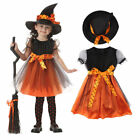 Girls Halloween Witches Hat Fancy Dress Witch Outfit Kids Cosplay Party Costume