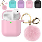 For Apple AirPods 2 &1 Silicone Charging Case Cute Cover with Keychain Fur Ball