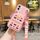 3D Cartoon Bird Coin Purse Silicone Wallet+Strap Case Cover For Various Phone