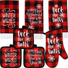 Christmas Buffalo Red Plaid Linen Kitchen or Bath Towels and Hot Pad Mix-n-Match